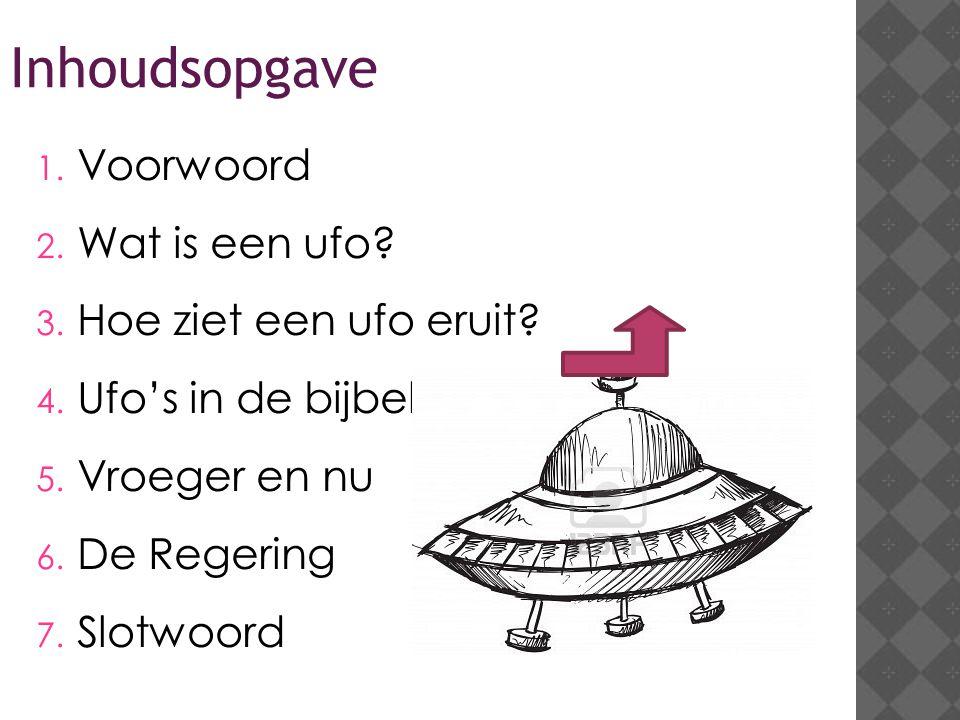 Inhoudsopgave 1.Voorwoord 2. Wat is een ufo. 3. Hoe ziet een ufo eruit.
