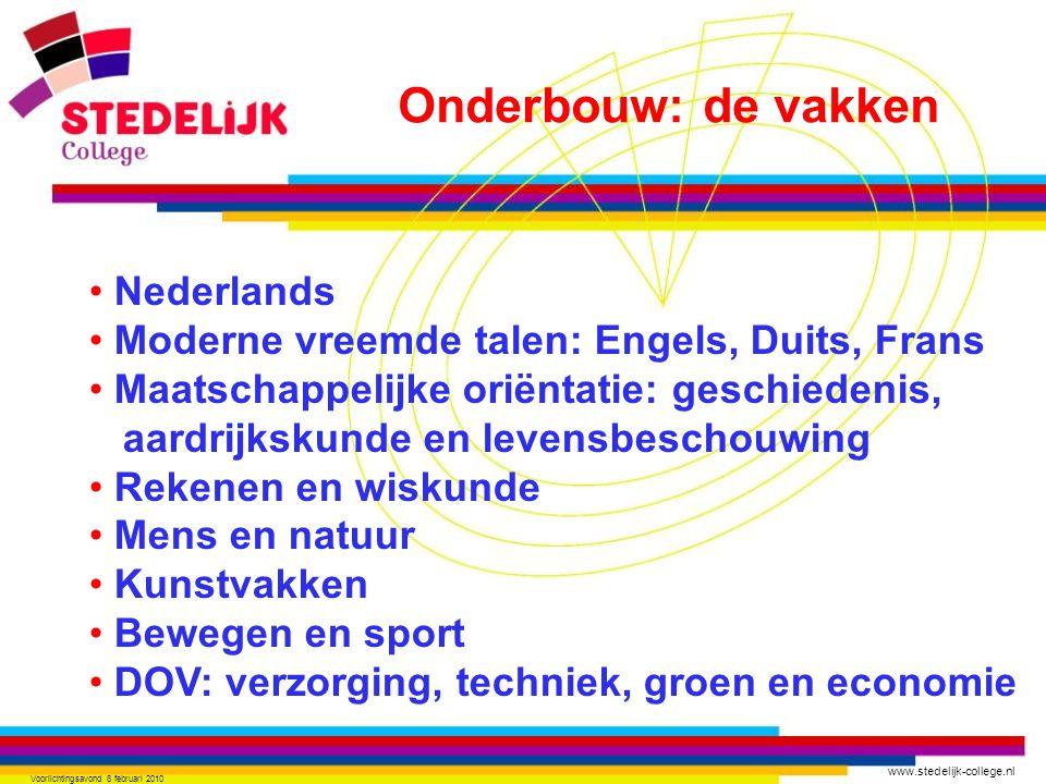 www.stedelijk-college.nl Voorlichtingsavond 8 februari 2010 Nederlands Moderne vreemde talen: Engels, Duits, Frans Maatschappelijke oriëntatie: geschi