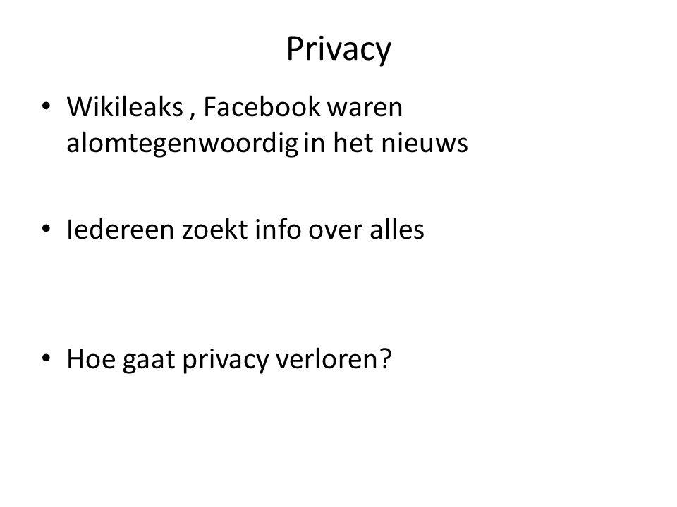 Privacy Wikileaks, Facebook waren alomtegenwoordig in het nieuws Iedereen zoekt info over alles Hoe gaat privacy verloren?