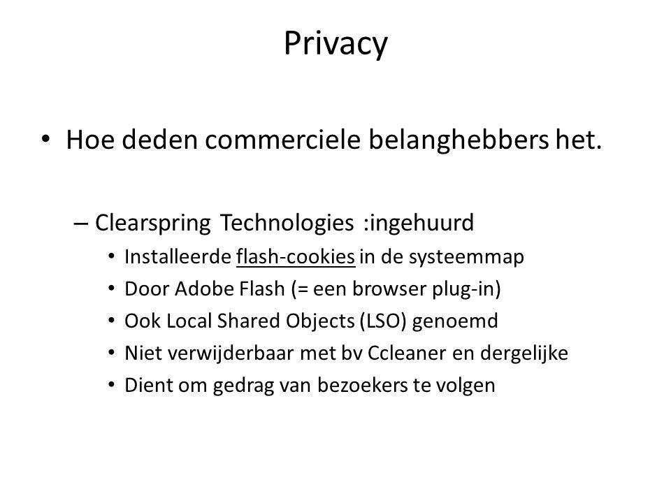 Privacy Verdwijn uit het zicht van de zoekers – Proxy servers gebruiken (niet altijd gratis) www.Anonymizer.com of www.Proxify.com www.Anonymizer.comwww.Proxify.com Moet je IP-adres wijzigen, encriptie (SSL) doen Webproxy – www.proxifier.com www.proxifier.com – VPN virtual private network www.relakks.com www.hotspotshield.com Werkt (nog) niet voldoende in IPv6