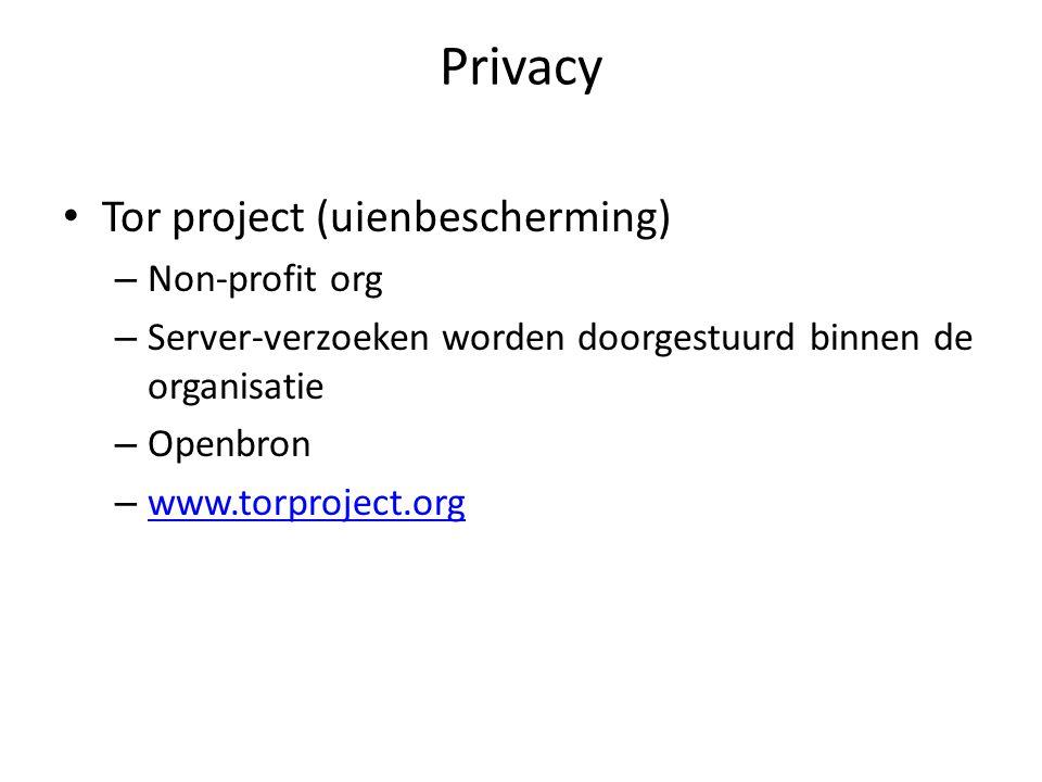 Privacy Tor project (uienbescherming) – Non-profit org – Server-verzoeken worden doorgestuurd binnen de organisatie – Openbron – www.torproject.org www.torproject.org