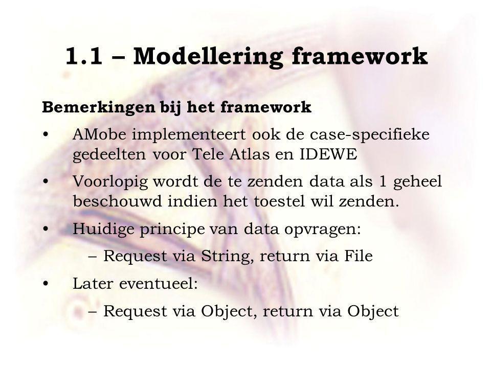1.1 – Modellering framework Bemerkingen bij het framework AMobe implementeert ook de case-specifieke gedeelten voor Tele Atlas en IDEWE Voorlopig wordt de te zenden data als 1 geheel beschouwd indien het toestel wil zenden.