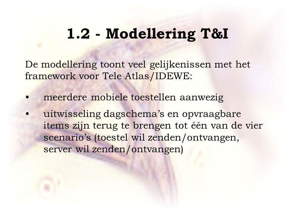 1.2 - Modellering T&I De modellering toont veel gelijkenissen met het framework voor Tele Atlas/IDEWE: meerdere mobiele toestellen aanwezig uitwisseling dagschema's en opvraagbare items zijn terug te brengen tot één van de vier scenario's (toestel wil zenden/ontvangen, server wil zenden/ontvangen)