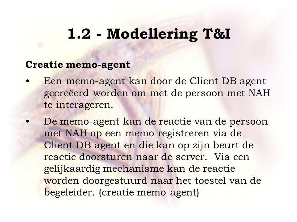 1.2 - Modellering T&I Creatie memo-agent Een memo-agent kan door de Client DB agent gecreëerd worden om met de persoon met NAH te interageren.