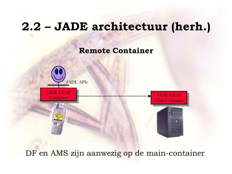 2.2 – JADE architectuur (herh.) Remote Container DF en AMS zijn aanwezig op de main-container