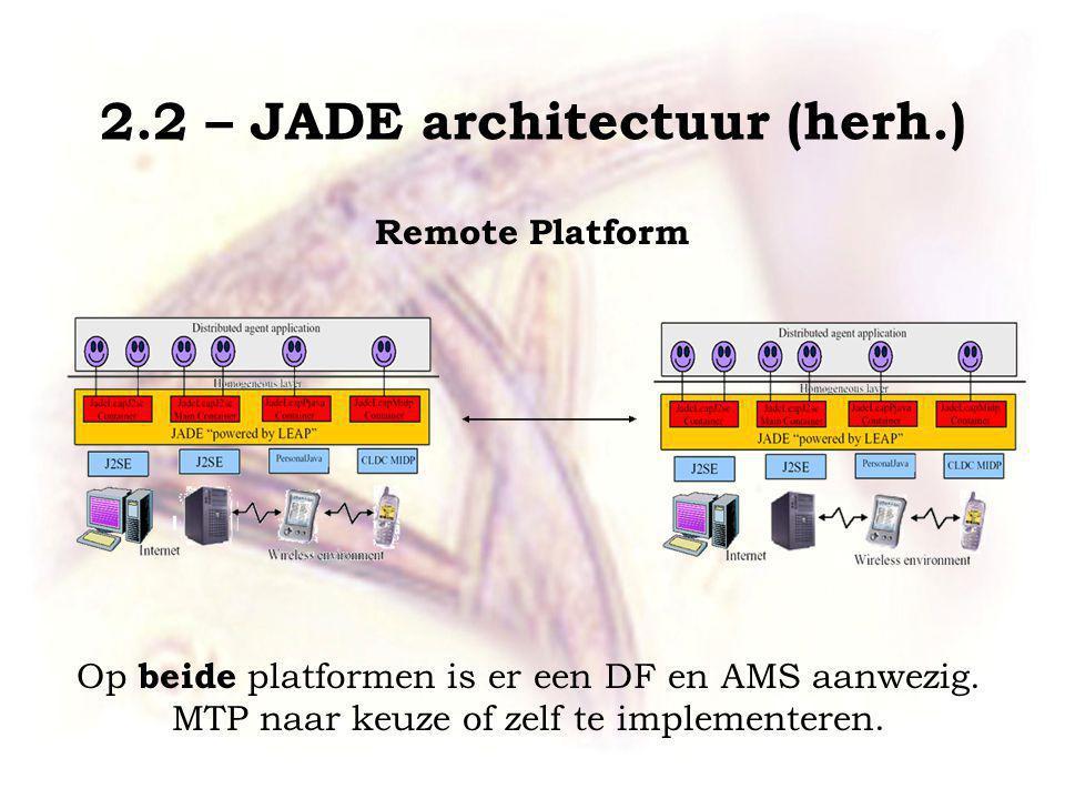 2.2 – JADE architectuur (herh.) Remote Platform Op beide platformen is er een DF en AMS aanwezig.