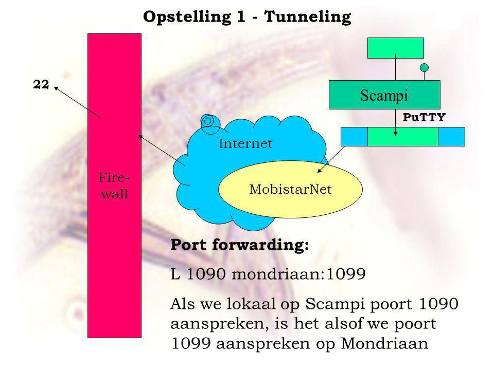 Internet Fire- wall Port forwarding: L 1090 mondriaan:1099 Als we lokaal op Scampi poort 1090 aanspreken, is het alsof we poort 1099 aanspreken op Mondriaan Opstelling 1 - Tunneling MobistarNet Scampi PuTTY 22