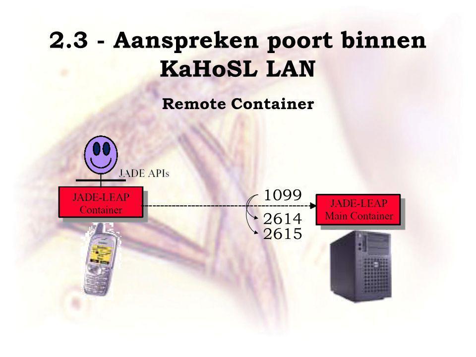 Remote Container 1099 2614 2615 2.3 - Aanspreken poort binnen KaHoSL LAN