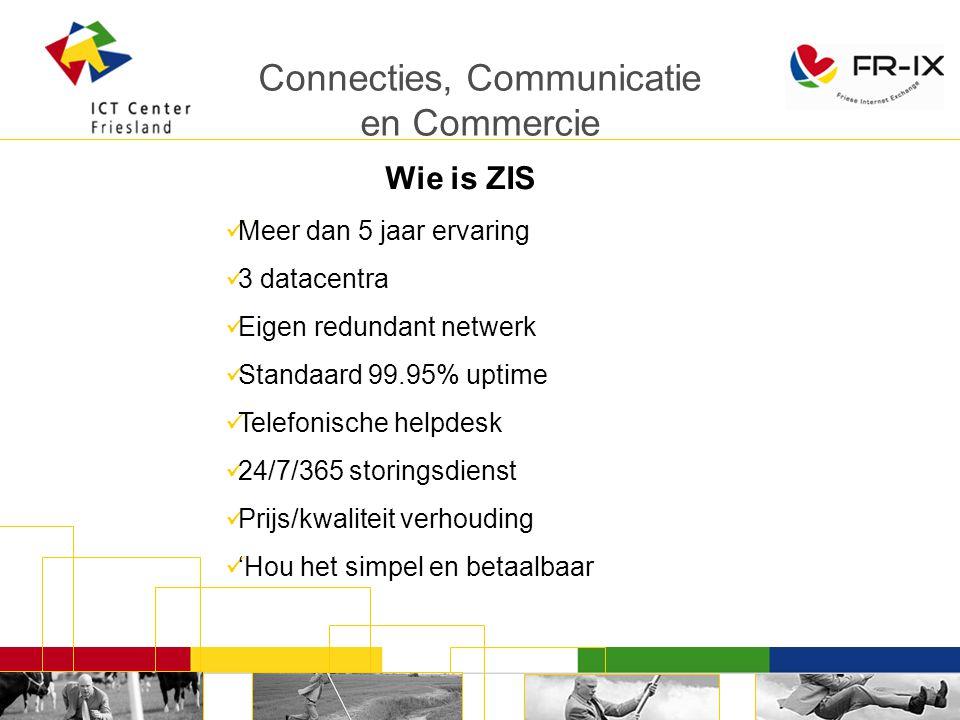 Connecties, Communicatie en Commercie Meer dan 5 jaar ervaring 3 datacentra Eigen redundant netwerk Standaard 99.95% uptime Telefonische helpdesk 24/7/365 storingsdienst Prijs/kwaliteit verhouding 'Hou het simpel en betaalbaar Wie is ZIS
