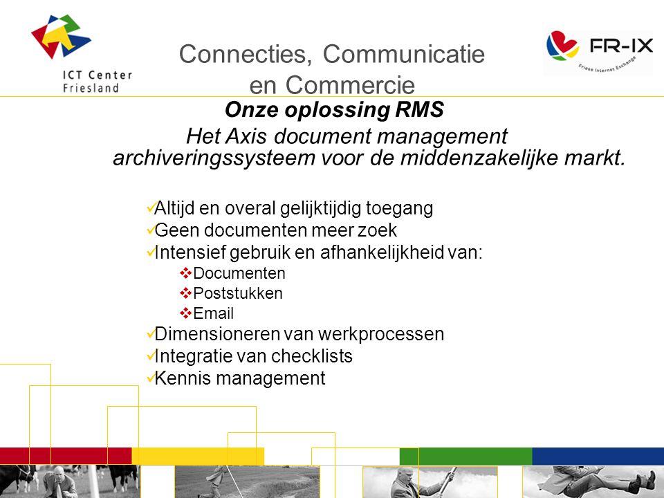 Connecties, Communicatie en Commercie Onze oplossing RMS Het Axis document management archiveringssysteem voor de middenzakelijke markt.