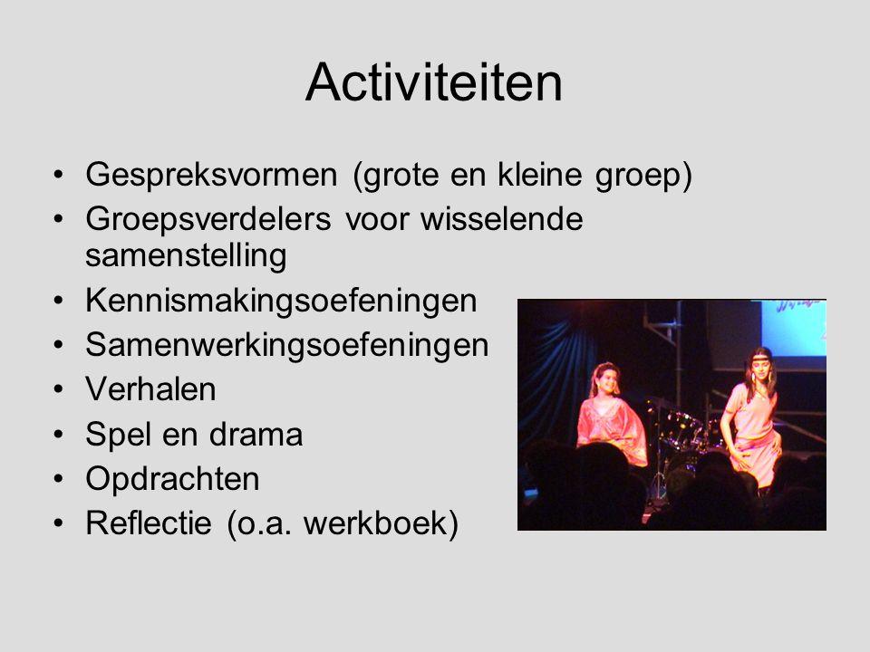 Activiteiten Gespreksvormen (grote en kleine groep) Groepsverdelers voor wisselende samenstelling Kennismakingsoefeningen Samenwerkingsoefeningen Verh