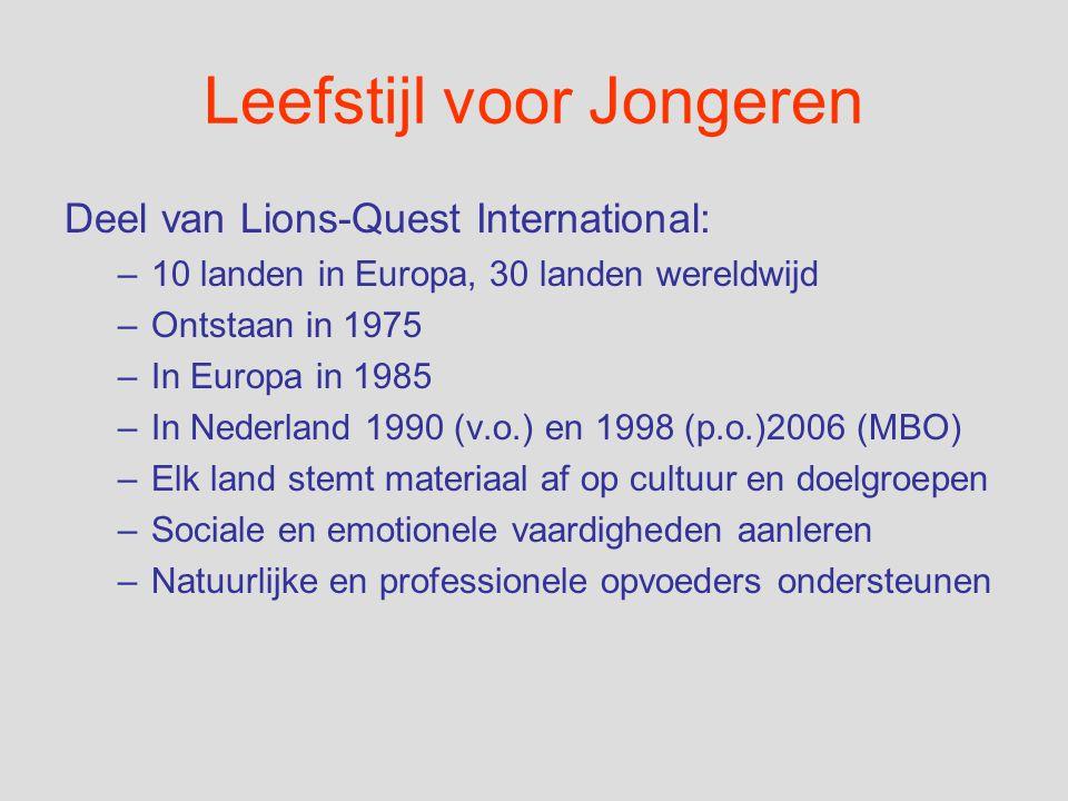 Leefstijl voor Jongeren Deel van Lions-Quest International: –10 landen in Europa, 30 landen wereldwijd –Ontstaan in 1975 –In Europa in 1985 –In Nederl