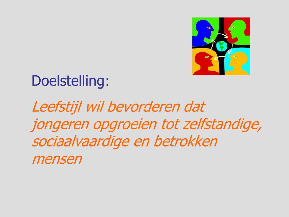 Leefstijl Nederland: Materiaal voor: PO Leefstijl 1 Leefstijl 2 Leefstijl voor het ROC Leefstijl voor de vrije tijd Mediation Leerlingvolgsysteem Studiedagen Begeleidingstrajecten 30 begeleiders, 10 ondersteuners, Lions-Clubs over het hele land