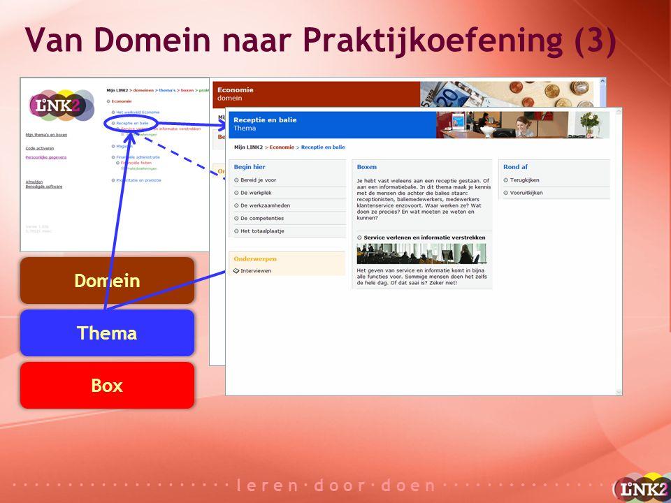 · · · · · · · · · · · · · · · · · · · · l e r e n · d o o r · d o e n · · · · · · · · · · · · · · · · · · · · Domein Thema Box Praktijkoefening Van Domein naar Praktijkoefening (4)