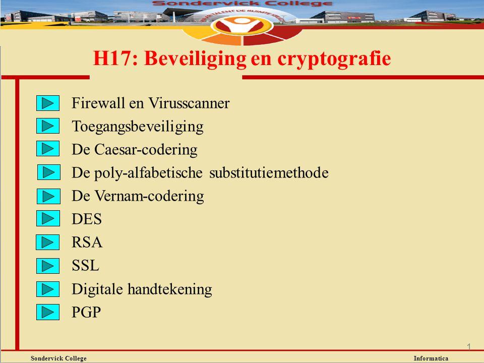Sondervick College Informatica 1 H17: Beveiliging en cryptografie Firewall en Virusscanner Toegangsbeveiliging De Caesar-codering De poly-alfabetische