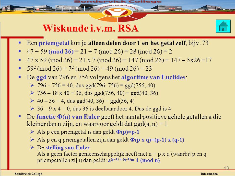 Sondervick College Informatica 13  Een priemgetal kun je alleen delen door 1 en het getal zelf, bijv. 73  47 + 59 (mod 26) = 21 + 7 (mod 26) = 28 (m