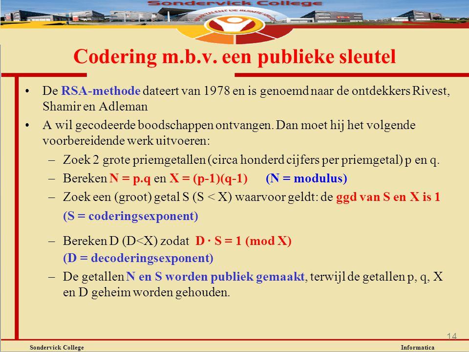 Sondervick College Informatica 14 De RSA-methode dateert van 1978 en is genoemd naar de ontdekkers Rivest, Shamir en Adleman A wil gecodeerde boodscha