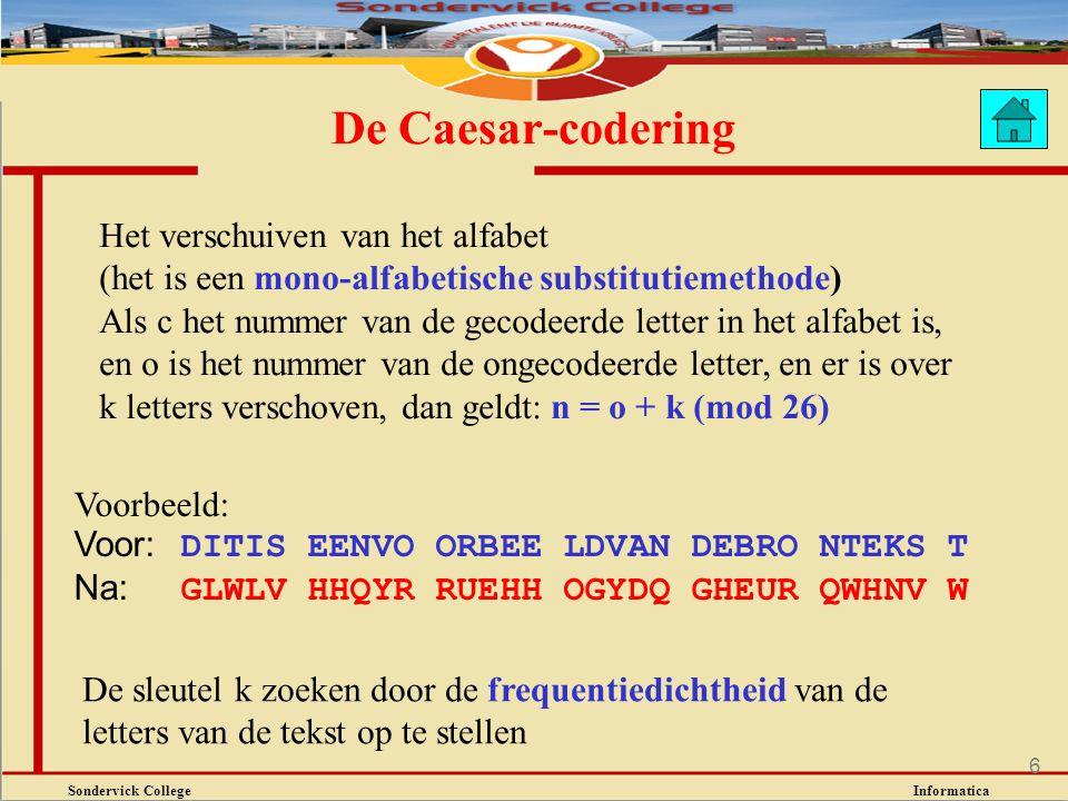 Sondervick College Informatica 6 De Caesar-codering Voorbeeld: Voor: DITIS EENVO ORBEE LDVAN DEBRO NTEKS T Na: GLWLV HHQYR RUEHH OGYDQ GHEUR QWHNV W D