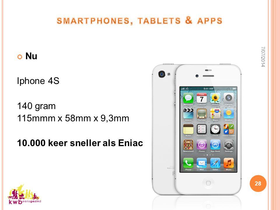 7/07/2014 28 Nu Iphone 4S 140 gram 115mmm x 58mm x 9,3mm 10.000 keer sneller als Eniac