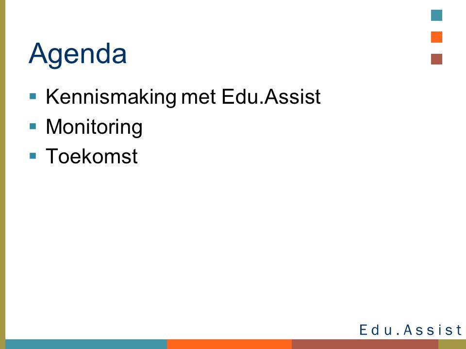 E d u. A s s i s t E – L E A R N I N G Agenda  Kennismaking met Edu.Assist  Monitoring  Toekomst