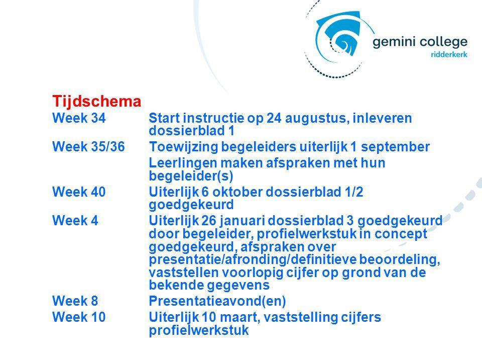 Tijdschema Week 34Start instructie op 24 augustus, inleveren dossierblad 1 Week 35/36Toewijzing begeleiders uiterlijk 1 september Leerlingen maken afs