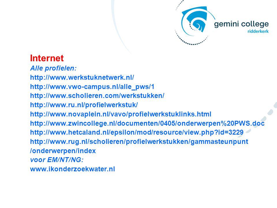 Internet Alle profielen: http://www.werkstuknetwerk.nl/ http://www.vwo-campus.nl/alle_pws/1 http://www.scholieren.com/werkstukken/ http://www.ru.nl/profielwerkstuk/ http://www.novaplein.nl/vavo/profielwerkstuklinks.html http://www.zwincollege.nl/documenten/0405/onderwerpen%20PWS.doc http://www.hetcaland.nl/epsilon/mod/resource/view.php?id=3229 http://www.rug.nl/scholieren/profielwerkstukken/gammasteunpunt /onderwerpen/index voor EM/NT/NG: www.ikonderzoekwater.nl