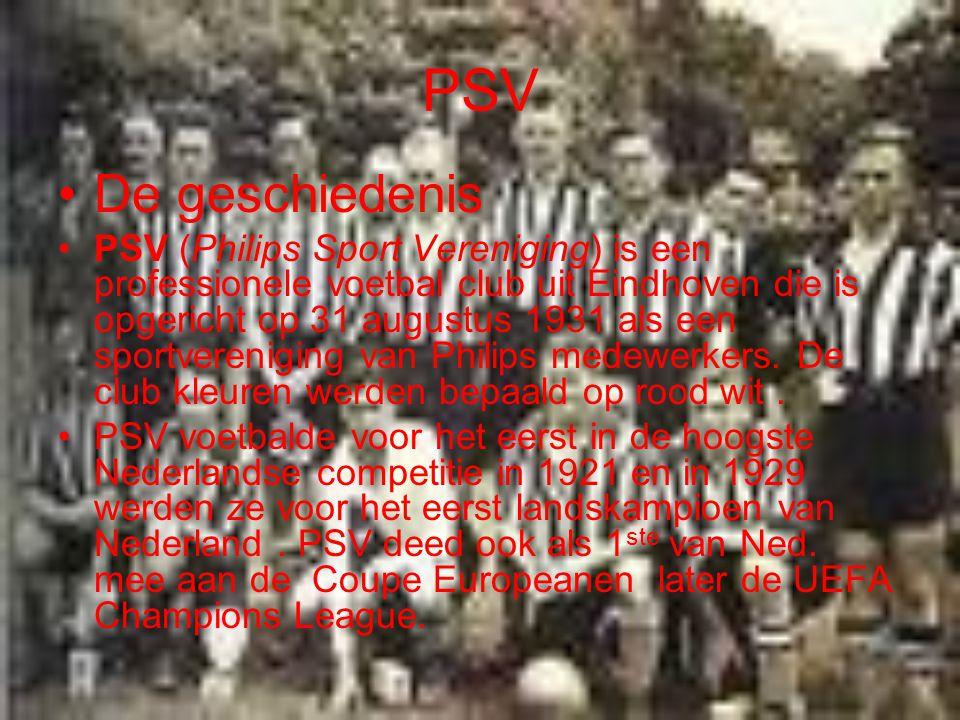 PSV De geschiedenis PSV (Philips Sport Vereniging) is een professionele voetbal club uit Eindhoven die is opgericht op 31 augustus 1931 als een sportv