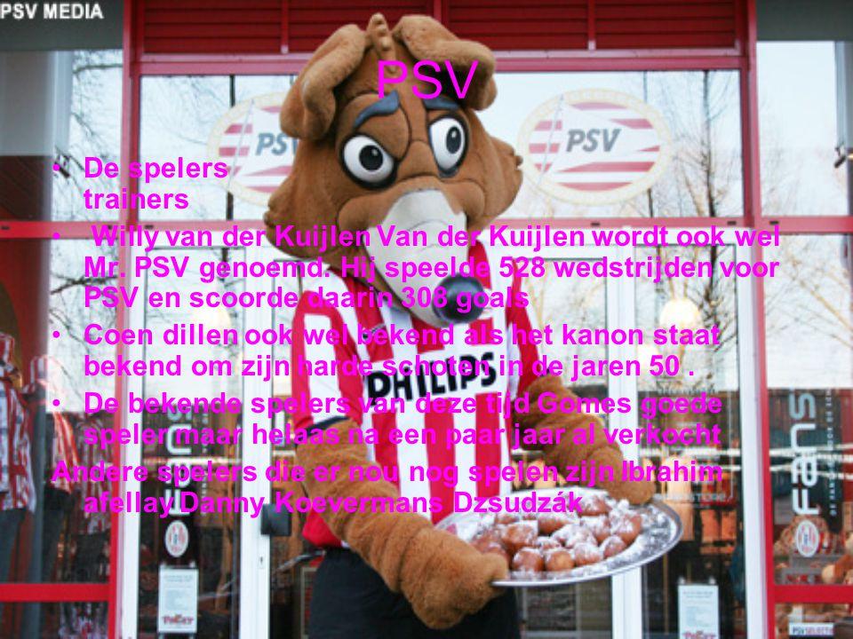 PSV De spelers trainers Willy van der Kuijlen Van der Kuijlen wordt ook wel Mr. PSV genoemd. Hij speelde 528 wedstrijden voor PSV en scoorde daarin 30