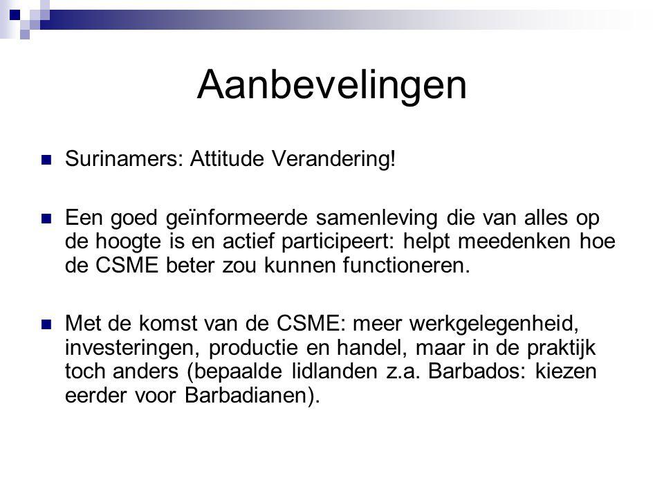 Aanbevelingen Surinamers: Attitude Verandering.
