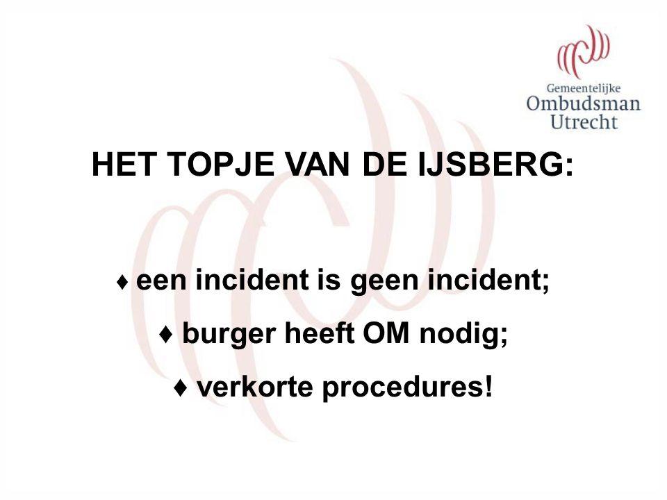 HET TOPJE VAN DE IJSBERG: ♦ een incident is geen incident; ♦ burger heeft OM nodig; ♦ verkorte procedures!