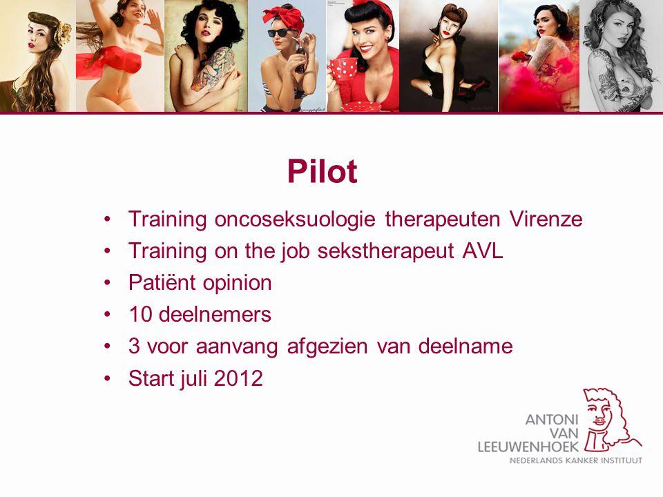 Pilot Training oncoseksuologie therapeuten Virenze Training on the job sekstherapeut AVL Patiënt opinion 10 deelnemers 3 voor aanvang afgezien van dee