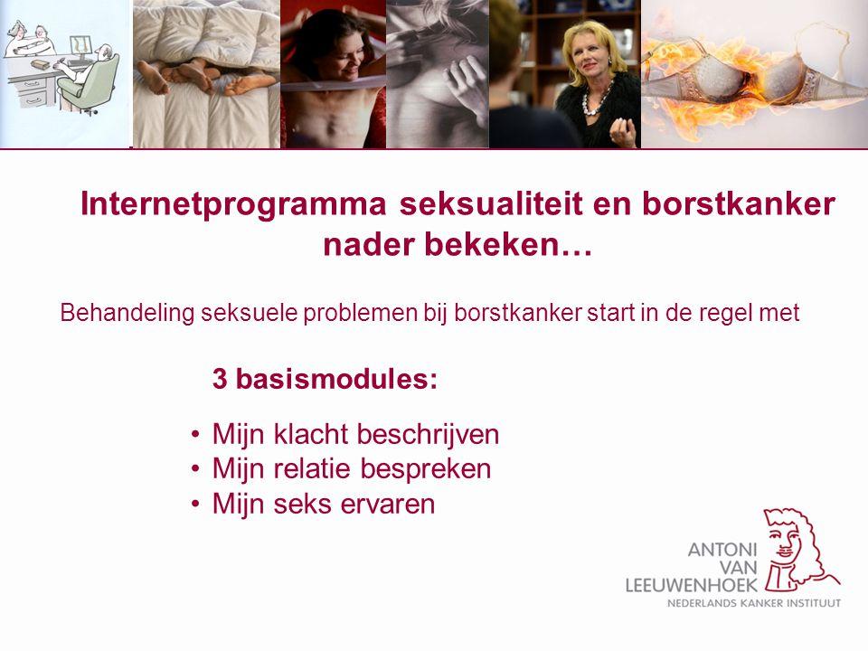 Internetprogramma seksualiteit en borstkanker nader bekeken… Behandeling seksuele problemen bij borstkanker start in de regel met 3 basismodules: Mijn