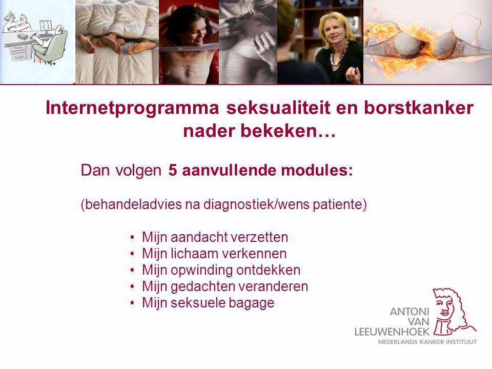 Internetprogramma seksualiteit en borstkanker nader bekeken… Dan volgen 5 aanvullende modules: (behandeladvies na diagnostiek/wens patiente) Mijn aand