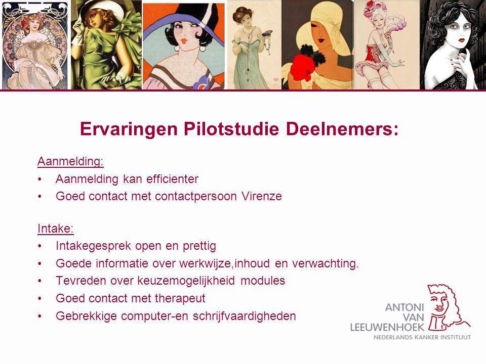 Ervaringen Pilotstudie Deelnemers: Aanmelding: Aanmelding kan efficienter Goed contact met contactpersoon Virenze Intake: Intakegesprek open en pretti