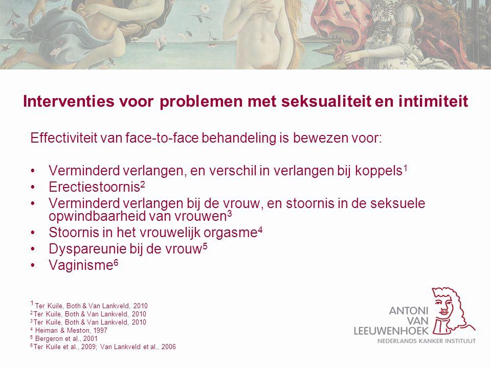 Interventies voor problemen met seksualiteit en intimiteit Effectiviteit van face-to-face behandeling is bewezen voor: Verminderd verlangen, en versch