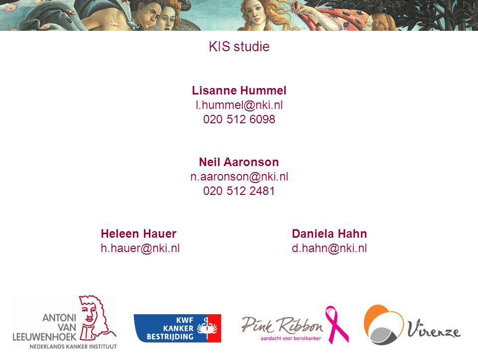 KIS studie Lisanne Hummel l.hummel@nki.nl 020 512 6098 Neil Aaronson n.aaronson@nki.nl 020 512 2481 Heleen Hauer Daniela Hahn h.hauer@nki.nl d.hahn@nk