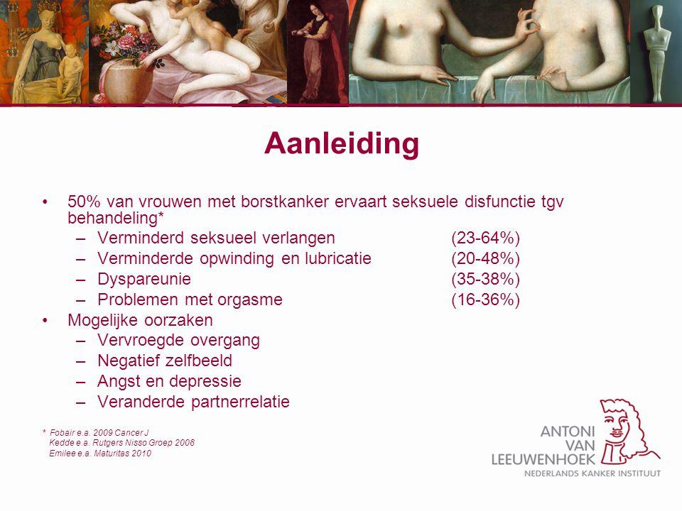 Aanleiding 50% van vrouwen met borstkanker ervaart seksuele disfunctie tgv behandeling* –Verminderd seksueel verlangen (23-64%) –Verminderde opwinding