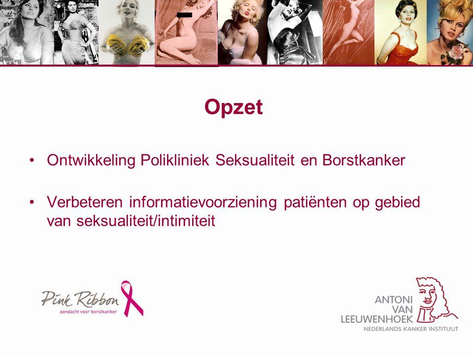 Relevantie KIS studie Ongeveer de helft van de vrouwen die zijn behandeld voor borstkanker rapporteert seksuele problemen.