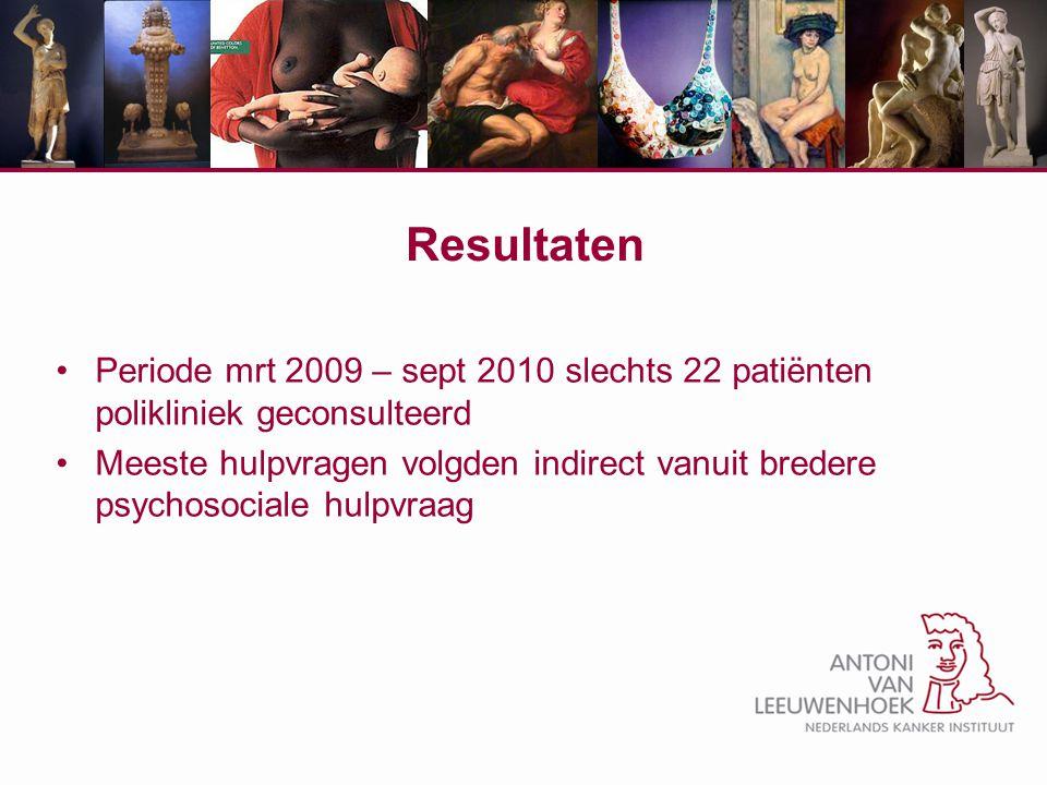 Resultaten Periode mrt 2009 – sept 2010 slechts 22 patiënten polikliniek geconsulteerd Meeste hulpvragen volgden indirect vanuit bredere psychosociale