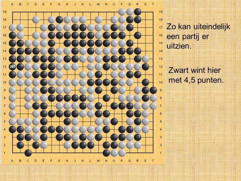 Zo kan uiteindelijk een partij er uitzien. Zwart wint hier met 4,5 punten.