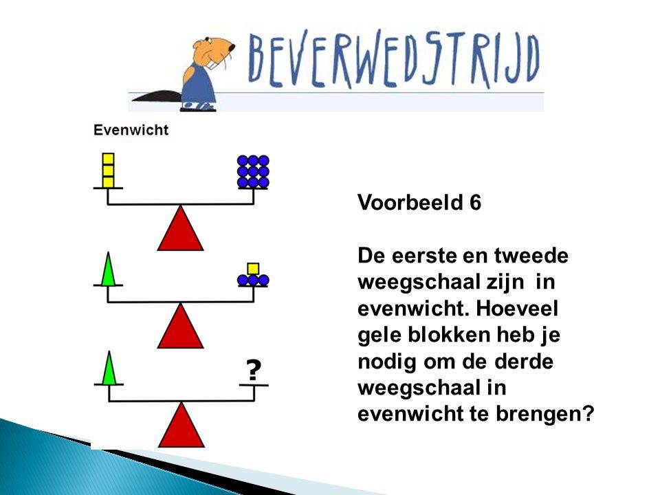 Voorbeeld 6 De eerste en tweede weegschaal zijn in evenwicht. Hoeveel gele blokken heb je nodig om de derde weegschaal in evenwicht te brengen?