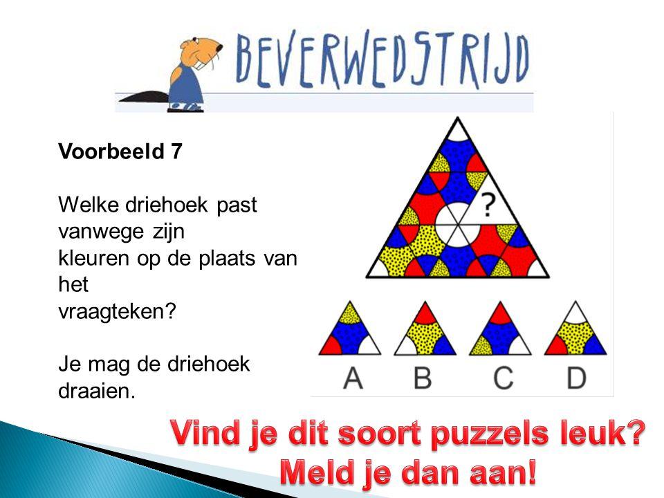 Voorbeeld 7 Welke driehoek past vanwege zijn kleuren op de plaats van het vraagteken? Je mag de driehoek draaien.