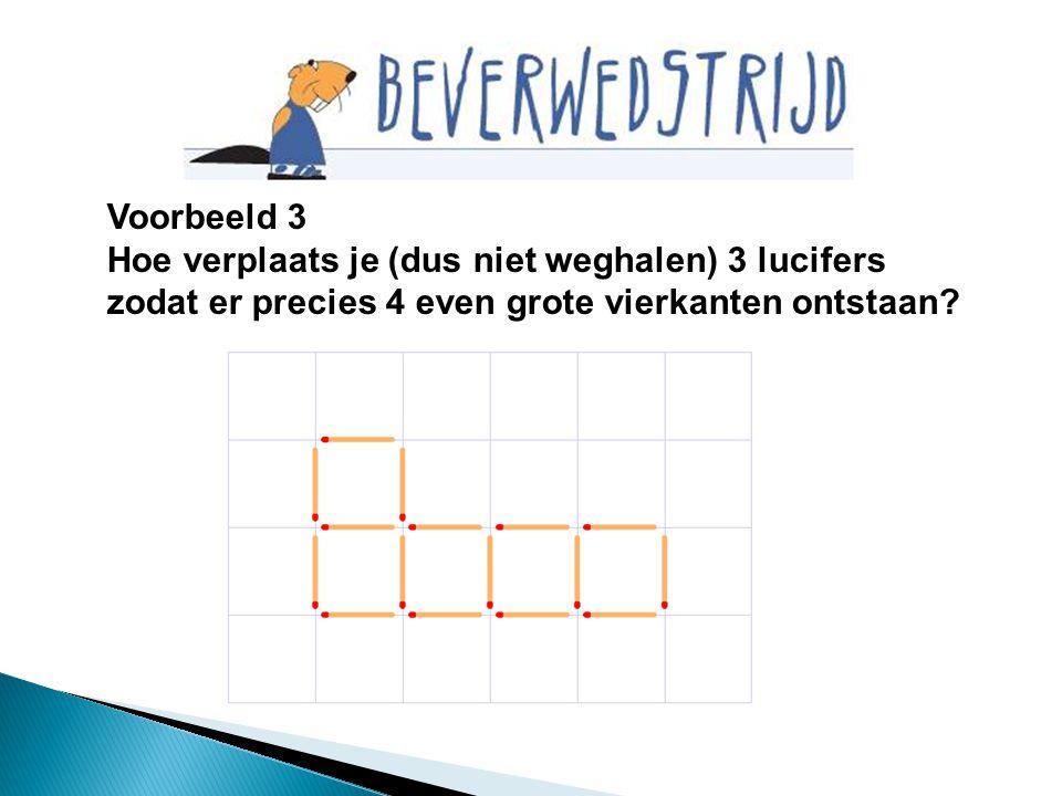 Voorbeeld 3 Hoe verplaats je (dus niet weghalen) 3 lucifers zodat er precies 4 even grote vierkanten ontstaan?