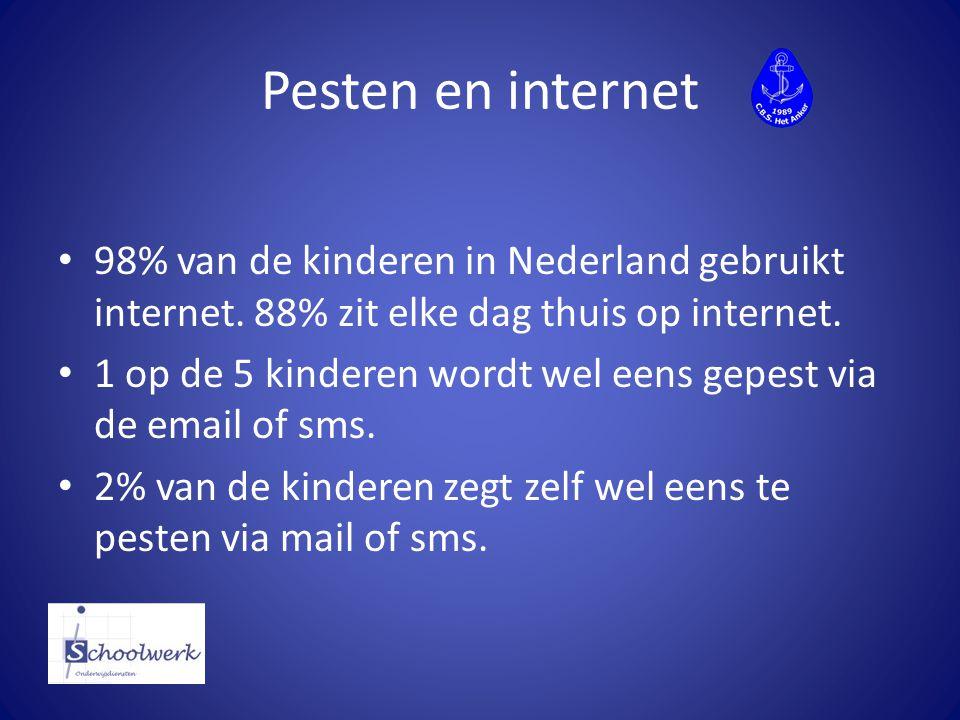 Pesten en internet 98% van de kinderen in Nederland gebruikt internet. 88% zit elke dag thuis op internet. 1 op de 5 kinderen wordt wel eens gepest vi