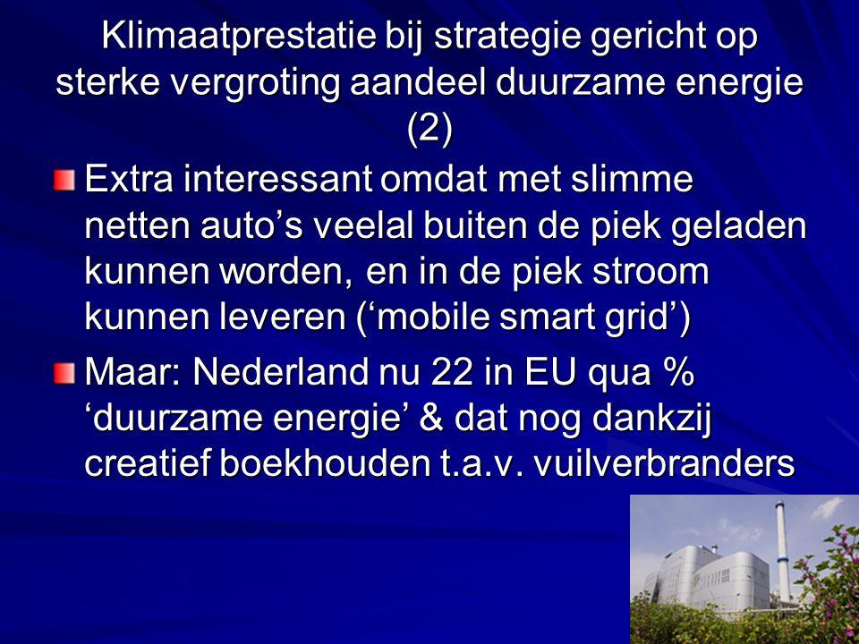 Klimaatprestatie bij strategie gericht op sterke vergroting aandeel duurzame energie (2) Extra interessant omdat met slimme netten auto's veelal buiten de piek geladen kunnen worden, en in de piek stroom kunnen leveren ('mobile smart grid') Maar: Nederland nu 22 in EU qua % 'duurzame energie' & dat nog dankzij creatief boekhouden t.a.v.