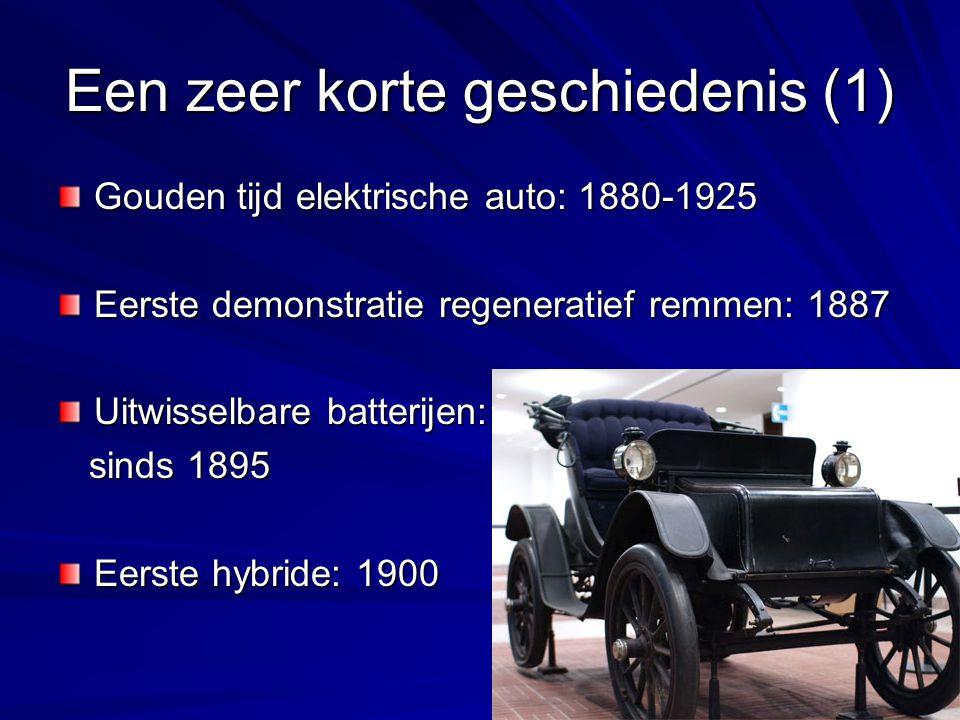 Een zeer korte geschiedenis (1) Gouden tijd elektrische auto: 1880-1925 Eerste demonstratie regeneratief remmen: 1887 Uitwisselbare batterijen: sinds 1895 sinds 1895 Eerste hybride: 1900
