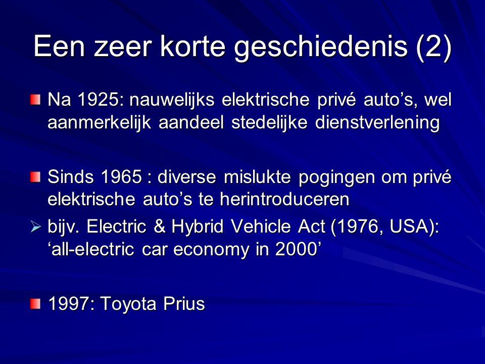 Een zeer korte geschiedenis (2) Na 1925: nauwelijks elektrische privé auto's, wel aanmerkelijk aandeel stedelijke dienstverlening Sinds 1965 : diverse