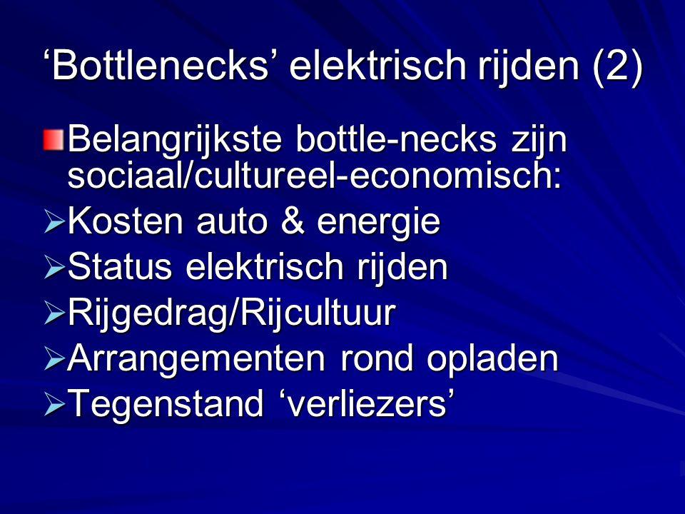 'Bottlenecks' elektrisch rijden (2) Belangrijkste bottle-necks zijn sociaal/cultureel-economisch:  Kosten auto & energie  Status elektrisch rijden 