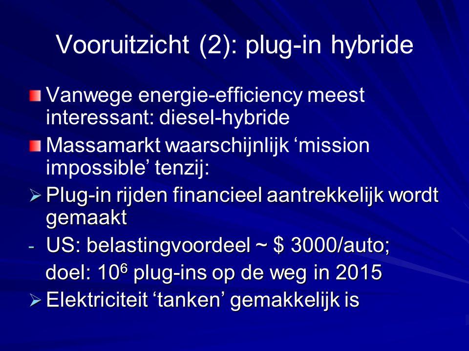Vooruitzicht (2): plug-in hybride Vanwege energie-efficiency meest interessant: diesel-hybride Massamarkt waarschijnlijk 'mission impossible' tenzij:  Plug-in rijden financieel aantrekkelijk wordt gemaakt - US: belastingvoordeel ~ $ 3000/auto; doel: 10 6 plug-ins op de weg in 2015 doel: 10 6 plug-ins op de weg in 2015  Elektriciteit 'tanken' gemakkelijk is