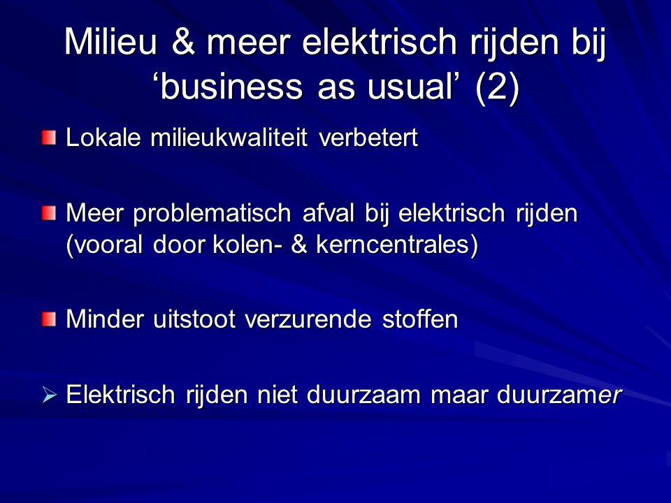 Milieu & meer elektrisch rijden bij 'business as usual' (2) Lokale milieukwaliteit verbetert Meer problematisch afval bij elektrisch rijden (vooral do